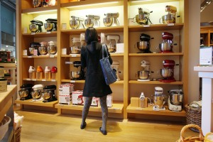 NEW YORK - MARCH 24:  A woman looks at mixers at a Williams-Sonoma store on March 24, 2009 in New York, New York. The home-goods retailers� fourth-quarter net income dropped 90% due to declining sales as consumers continue to shun non-essential and luxury items.  (Photo by Spencer Platt/Getty Images)